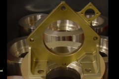 Anodized aluminum bracket machined from solid bar stock for the defense industry